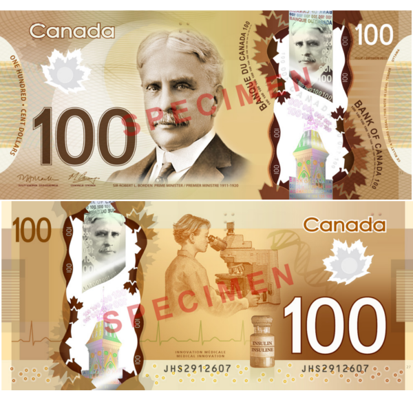 100 dollars canadiens