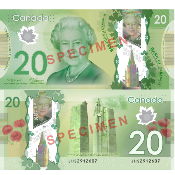 20 dollars canadiens
